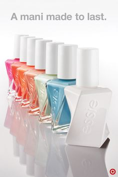 Six gorgeous colors. One amazing top coat. Two weeks of polish. Consider us obsessed. essie Gel Couture nail polish boasts a special formula that's ultra resilient to water, heat and chipping for a flawless manicure that can keep up with your busy schedule. Apply two coats of color and one coat of top coat (the white bottle), letting the polish have ample dry time between each coat. It's that easy. Plus, it'll save you from having to redo your nails midway through the week. Win-win.