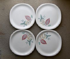 4 vintage restaurant ware plates by Walker China by nycgypsy on etsy