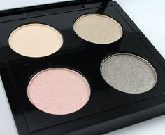 MAC Caviar Dreams quad:   Brule - soft creamy beige (satin)  Et tu, Bouquet? – frosted pale pink  gold (frost)  Caviar Dreams – dirty frosted pewter (lustre)  Retrospeck – beached blonde (lustre)