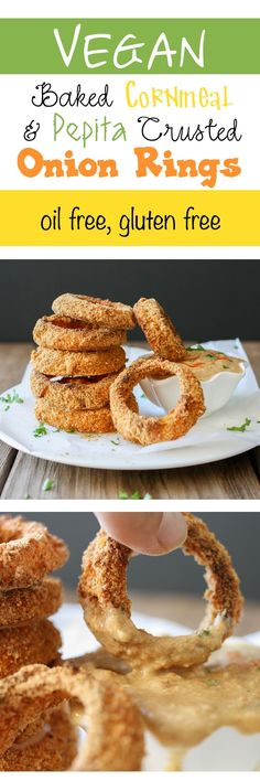 Baked Cornmeal and Pepita Crusted Onion Rings | www.veggiesdontbite.com | #vegan…