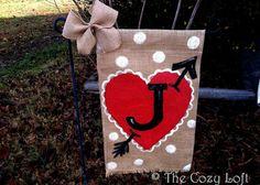 Red Heart Burlap Garden Flag with Monogram for Valentine's Day by Artist, Rhonda James #vday #love #valentinesday