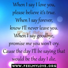 When I say I love you, please believe it's true