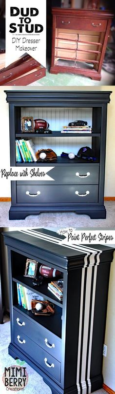 Great way to redo a dresser that is missing drawers, or the drawers are in bad shape. Plus how to build shelves and how to paint awesome stripes. #dressermakeover #boysroom #boysdresser #paintstripes