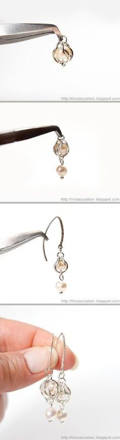 Tutorial how to make dangling earrings with pearl by grace