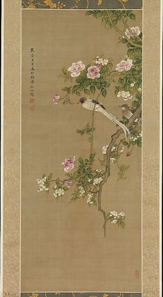 "What a beautiful silk painting. I love the detail and colouring of this ancient masterpiece. ""Flowers and Birds, Shen Nanpin (Shen Quan), Period: Qing dynasty (1644–1911), Date: 1750, Culture: China, Medium: Hanging scroll; ink and color on silk."""