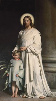"""""""Whoever receives one child such as this in my name, receives me; and whoever receives me, receives not me but the One who sent me."""" Mark 9:37 // Jesus Christ Blessing the Little Child / Jesucristo bendiciendo un niño // Carl Heinrich Bloch // Private Collection // #children"""