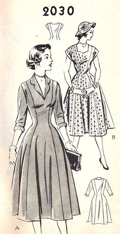 My heart just skipped a beat or two!!! 1950s Misses Princess Seam Dress Vintage Sewing Pattern, Mail Order Pattern 2030. #vintage #sewing #pattern #dress #1950s