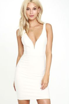 We dare you to find a dress more perfect than the Perfect Pick White Bodycon Dress! This LWD hugs your figure as medium-weight knit dress forms a deep V-neckline (with hidden V bar), princess-seamed bodice, and a fitted mini skirt for a simply sexy look. Hidden back zipper.