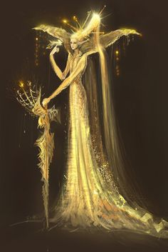 Gold by ~Uzuhiro - love this elongated style, it's unusual and gives a real sense of something otherworldly.