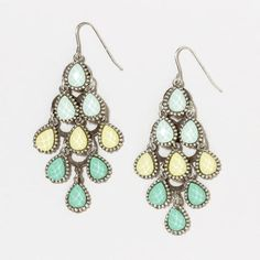 These tiered Chandelier Earrings are in gorgeous hues, green yellow, and turquoise.