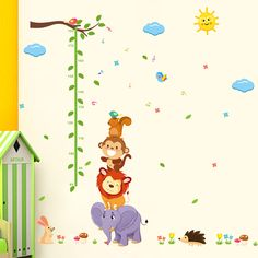 Aliexpress.com : Buy animal Monky Bird Lion sky sun tree baby child height measure growth chart home decal wall sticker kids room nursery…