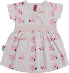 Sooki baby cross over dress with a small cap sleeve and with four metal fasteners at the neck.  With a pink waistband and an overall pattern of pink birds, it is very sweet.  It is 100% cotton and machine washable.