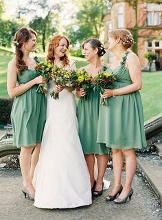bridesmaids in green chiffon with rustic bouquets / Depict Photography