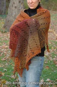 Autumn Leaves Filet Crochet Shawl ~ ABC Knitting Patterns