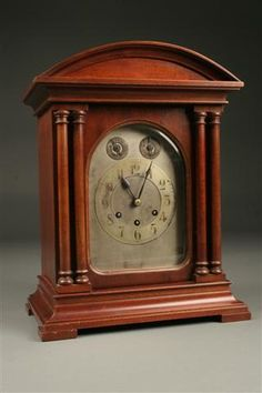 Gustav Becker bracket clock in mahogany case, German, circa 1920. #antique #clock