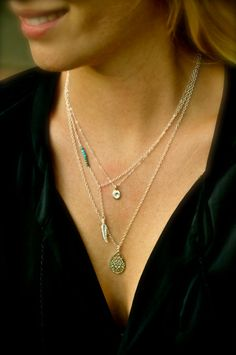 Sterling Silver Layering Necklaces, Set of 3, Feather, Turquoise, Personalized Disc, Tag, Filigree Pendant on Etsy, £50.21