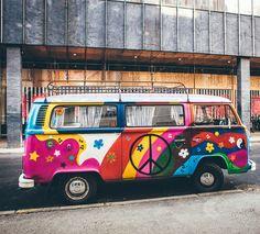 combi color flower pattern Hand & Bath Towel by SA(c)bastien BOUVIER - Hand Towel Hippie Painting, Car Painting, Combi Hippie, Hippie Car, Flower Power, Time Travel Machine, August Colors, Hippies, Chemises