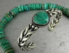 Old Pawn Navajo Disign Green Turquoise Braided Sterling Cuff Bracelet | eBay
