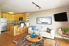 Studio apartment living space at The Bluffs at Pacifica Apartments, Pacifica, CA