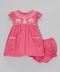 Hot Pink Cap-Sleeve Dress & Bloomers - Infant & Toddler