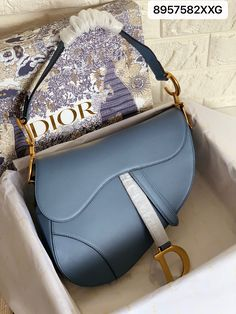 Christian Dior CD woman Epsom leather saddle bag blue 25.5cm