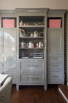 Office Cabinet Ideas using one wall for a home office. desk plus storage cabinets
