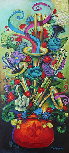 """Jazz Bouquet is a gracefully festive masterpiece. The artist painted it while listening to """"New Orleans"""", a jazz, blues and swing cd of a few of the greats like Louis Prima, Dr. John and Kermit Ruffins. """"This piece started as just a colorful bouquet, but I couldn't resist painting what I was hearing"""", Osborne says. Lithograph print size is 36″ …"""