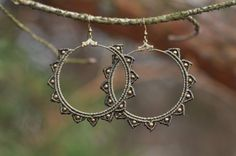 Macrame earrings STARS tribal hippie gypsy by NamasteMacrameArt