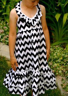 Emmaline Maxi dress for children, girls and tweens  in Black and White Chevron. $60.00, via Etsy.