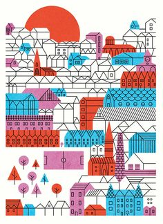 >> wallpaper candidate Parko Polo is the alter ego of Edinburgh based illustrator Edward McGowan. As Parko Polo, Edward pairs bright cheerful colors with bold geometric lines to create images of wonder and exploration. City Illustration, Pattern Illustration, Graphic Design Illustration, Creative Illustration, Rock N Folk, Atelier Theme, City Poster, Geometric Lines, Create Image