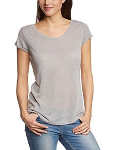 TOM TAILOR Denim Damen T-Shirt basic linenlike shirt 503, Gr. 34 (Herstellergröße: XS), Grau (carbon grey melange 2061)