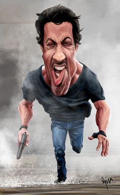 Sylvester Stallone - The Expendables by crueniaone on DeviantArt - Nickolaus Drains Funny Faces Images, Funny Cartoon Faces, Images Emoji, Cartoon Pics, Funny Cartoons, Cartoon Art, Funny Photos, Caricature Artist, Caricature Drawing