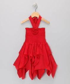 Red Rosette Handkerchief Dress - Toddler & Girls by Lele for Kids #zulily #zulilyfinds