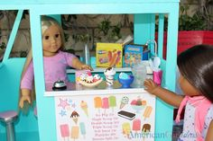 How to Make Our Generation Ice Cream Truck A few weeks ago Our Generation added an awesome item to their website. The Our Generation Ice Cream Truck. Ag Doll Crafts, Diy Doll, Ag Dolls, Girl Dolls, Doll Toys, American Girl Crafts, American Dolls, Doll Storage, Truck Crafts