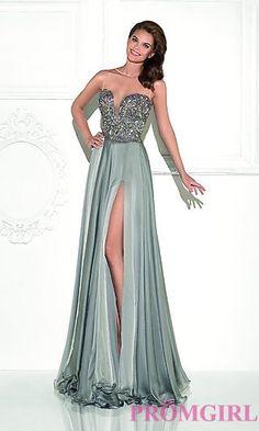 Silk Illusion Sweetheart Long Tarik Ediz Formal Dress $1628