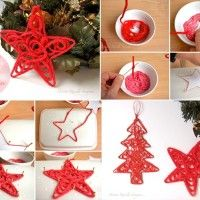 Image Source: decorareciclaimagina To make these ornaments you will require some red colored yarn, white glue, toothpicks, a polystyrene tray, a bowl and w