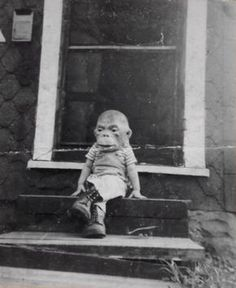 Monkey mask vintage Halloween photo - cute yet creepy