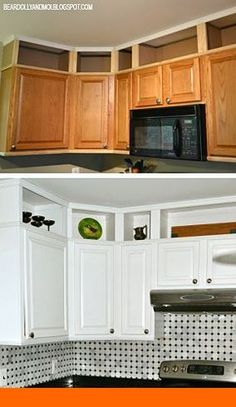 Kitchen Projects Kitchen before and after utilizing the space above cabinets and painting them.Kitchen before and after utilizing the space above cabinets and painting them. New Kitchen Cabinets, Kitchen Redo, Kitchen Countertops, Diy Kitchen Makeover, Diy Storage Above Kitchen Cabinets, Design Kitchen, Island Kitchen, Kitchen Cabinets Before And After, Painting Kitchen Cabinets White