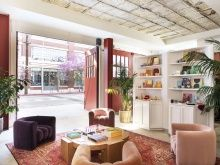 The Retro-Industrial Pizzazz of Firehouse Hotel in Los Angeles Converted Warehouse, Abandoned Warehouse, Red Garage Door, Green Technology, Retail Shop, Interior Design Studio, Industrial, Architecture, Outdoor Decor