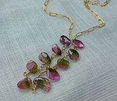 "Handcrafted Watermelon Tourmaline (10 Slices)14K Gold Filled Necklace 18"" to 19"""