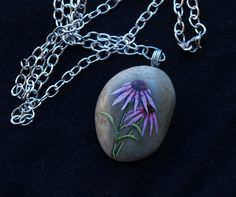 Echinacea Flower painted stone necklace by MichellePetersenArt