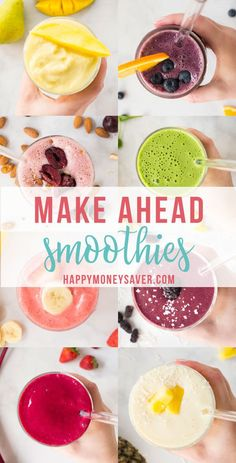 delicious make ahead smoothie packs freezer recipes! With 9 recipe ideas l. -Super delicious make ahead smoothie packs freezer recipes! With 9 recipe ideas l. - Make single serve smoothies easier by preppi. Make Ahead Smoothies, Freezer Smoothies, Healthy Freezer Meals, Easy Smoothie Recipes, Smoothie Ingredients, Freezer Recipes, Fruit Smoothies, Homemade Smoothies, Freezer Food