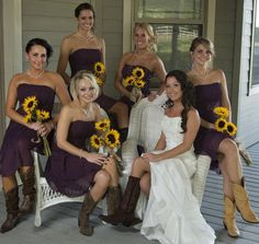 I love the plum dresses with the sunflowers! No boots for me though