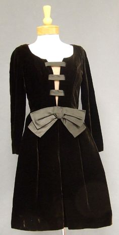 Oleg Cassini Chocolate Velvet 1960s Cocktail Dress w/ Illusion Bust