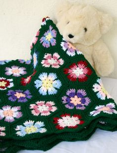 Granny hexagons afghan crochet flower throw