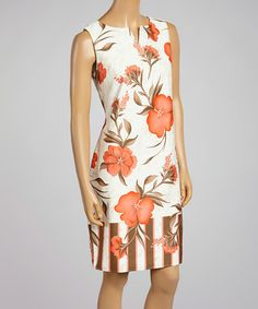 Another great find on #zulily! Coral & Beige Floral Sheath Dress by Cece's New York #zulilyfinds