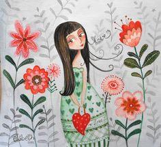 elsbeth eksteen Face Art, Art Faces, Cute Doodles, Cute Images, Children's Book Illustration, Art Pictures, Pretty Little, Peace And Love, Creative Art