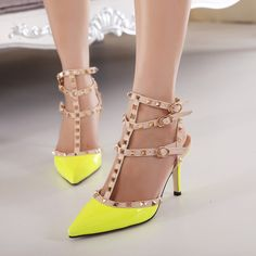Women High Heels Rivets & Spike Shoes Patent Leather Party Shoes