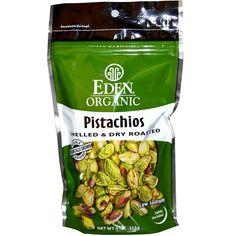 Eden Foods, Organic, Pistachios, Shelled & Dry Roasted, Lightly Sea Salted, 4 oz (113 g) - iHerb.com. Bruk gjerne rabattkoden min (CEC956) hvis du vil handle på iHerb for første gang. Da får du $5 i rabatt på din første ordre (eller $10 om du handler for over $40), og jeg blir kjempeglad, siden jeg får poeng som jeg kan handle for på iHerb. :-)