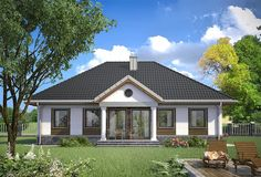 Projekt domu Aleksandria - murowana - ceramika 112,7 m2 - koszt budowy 184 tys. zł - EXTRADOM Single Storey House Plans, Modern Bungalow House, Simple House Design, 3d Home, Ranch Style Homes, Home Fashion, Villas, Future House, Architecture Design